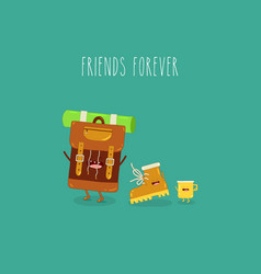 backpack boot yellow cup friends forever vector image