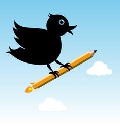 Bird with pencil rocket vector