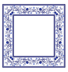 Blank frame with blue boho floral ornament with vector