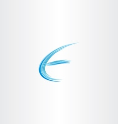 blue letter e water wave icon vector image