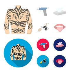 body tattoo piercing machine napkins tattoo set vector image