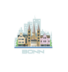 Bonn city skyline city landscape with ancient vector