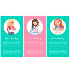 breastfeeding informative vertical posters set vector image