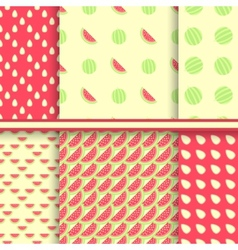 Bright set of seamless patterns with watermelons vector