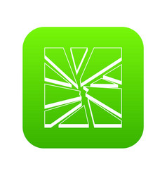 broken glass icon digital green vector image
