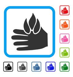 Burn hand framed icon vector