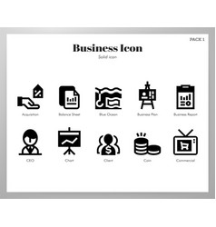 Business icons solid pack vector