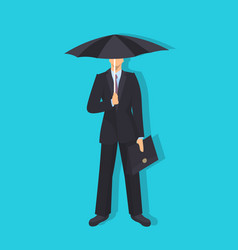 businessman holding umbrella rain business vector image