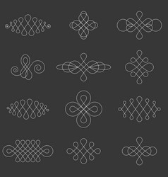 Calligraphic lines dividers vector