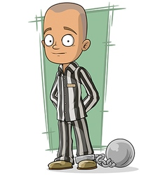 Cartoon bald prisoner with metal vector image