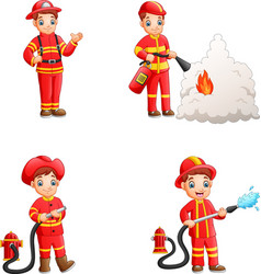 cartoon firefighters collection with different act vector image