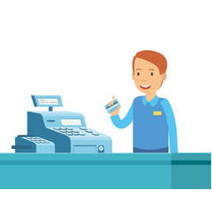 cartoon of happy man in the cashier with the vector image