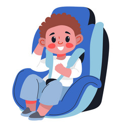 Child boy sitting in car seat with fasten belts vector