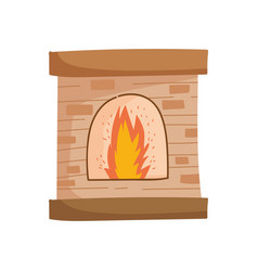 chimney bricks flame decoration icon vector image