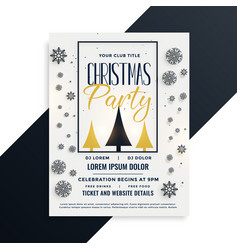christmas party flyer template with snowflakes vector image