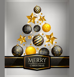 christmas tree made of baubles and stars vector image