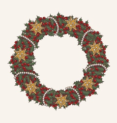 Christmas wreath made from lot of mistletoe vector