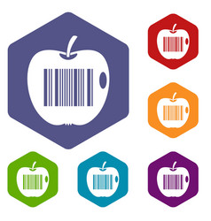 Code to represent product identification icons set vector