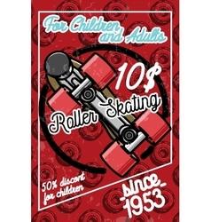 Color vintage roller Skates poster vector