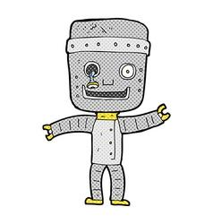 Comic cartoon funny old robot vector