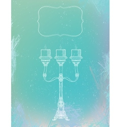curly ornamental candlestick with three stems vector image
