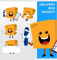 delivery box mascot character set logo icon vector image