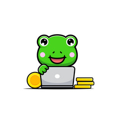 Design cute frog with computer and gold coins vector
