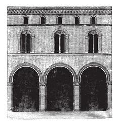 Faade of a palace at bologna vintage engraving vector