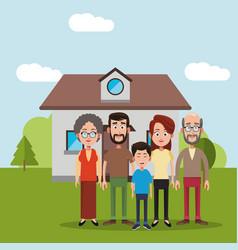 Family near house residential vector