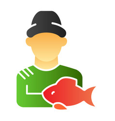 Fisher and the catch flat icon angler color icons vector