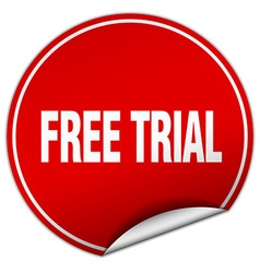 Free trial round red sticker isolated on white vector