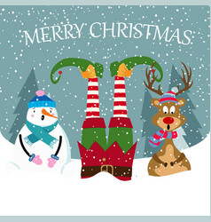funny christmas card with elf snowman and reindeer vector image