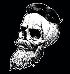 Hand drawn beard skull vector