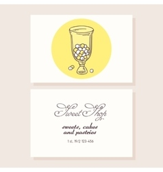 Hand drawn candy bar business card template vector image
