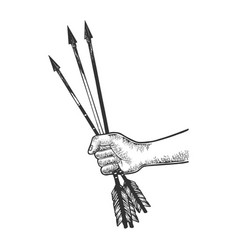 hand with arrows engraving vector image