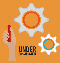 Hand with tool and under construction equipment vector