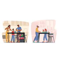 Happy people cooking at home men women and kids vector