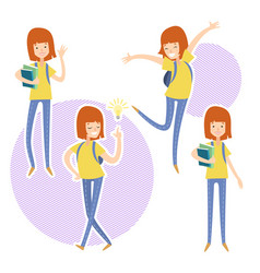 Happy school girl with a books in hand vector