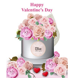happy valentine card with peony and roses flowers vector image vector image