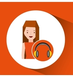 headphones music character girl vector image