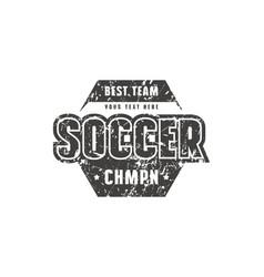 Hexagonal template emblem for soccer team vector
