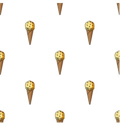 Ice cream in waffle cone icon in cartoon style vector
