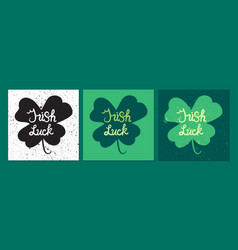 Irish luck lettring in clover vector