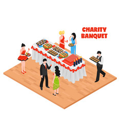 Isometric charity banquet background vector