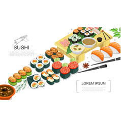 isometric sushi food collection vector image