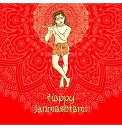 Lord Krishana in Happy Janmashtami vector image