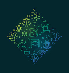 Machine learning concept outline colored vector