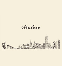 malmo skyline sweden hand drawn city sketch vector image