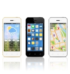Modern smartphones with widgets on screens vector image