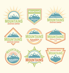 Mountains isolated colored vintage badges vector